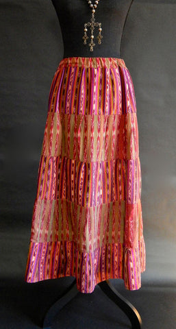 Gorgeous Silk Ikat Tiered Skirt from Guatemala