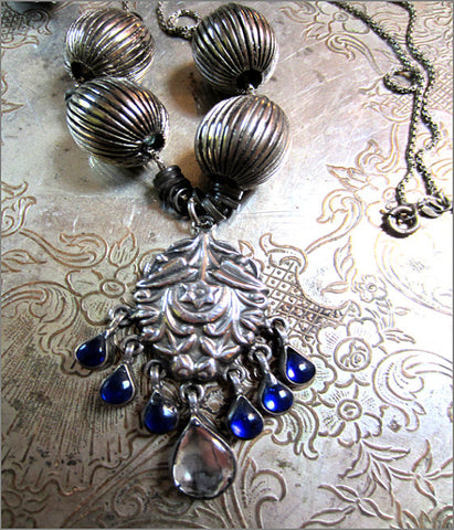 Vintage Indian Silver Pendant Necklace with Cobalt Glass