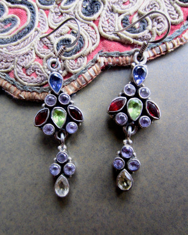 Long Luscious Multi-Gem Dangle Earrings from Jaipur