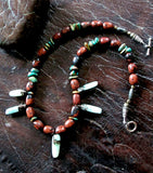 One of a Kind Brown Jasper, Turquoise and Aqua Amazonite Necklace