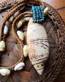 Old BaKuba Etched Shell and Cowrie Choker Necklace