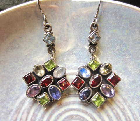 Spectacular Vintage Multi-Jewel Cluster Dangle Earrings from Jaipur