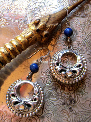 Rich Lapis and Vintage Indian Silver Dangle Earrings