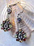 Distinctive Multi-Gem Lute-Shaped Silver Dangle Earrings from Jaipur