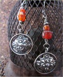 Vintage Silver Mandala and Carnelian Earrings