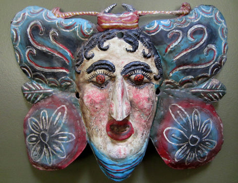 Antique Painted Copper Butterfly Mask from Mexico