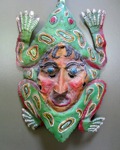 Antique Copper Frog Mask from Mexico