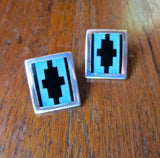 Modern Geometric Mosaic Navajo Post Earrings