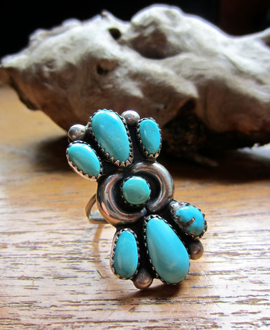 Navajo Turquoise Cluster Statement Ring