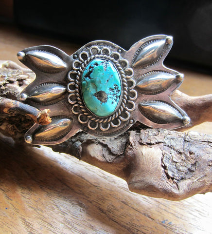 Handsome Old Navajo Silver and Turquoise Pin
