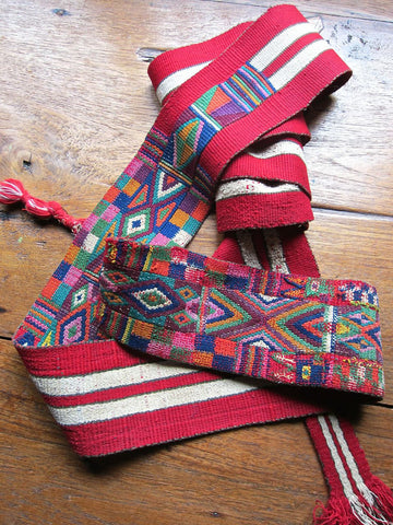 Traditional Striped and Embroidered Belt from Nebaj