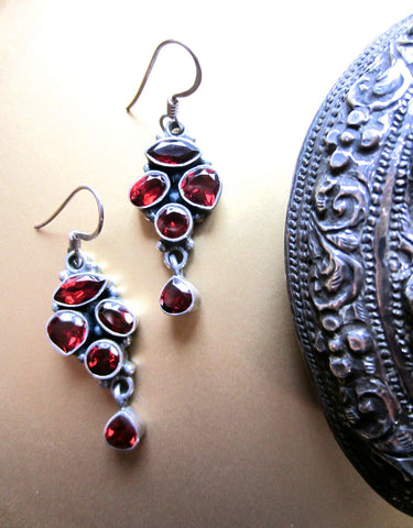 Vintage Garnet Cluster Dangle Earrings from India