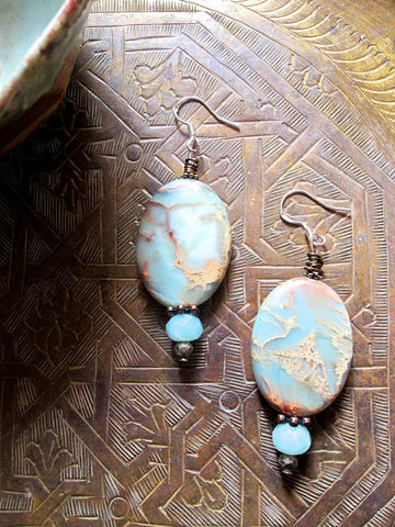 Oval Aqua Peruvian Opal and Amazonite Earrings