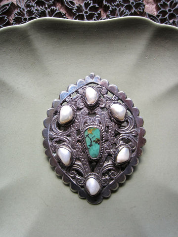 Antique Pearl and Turquoise Brooch from Ladakh