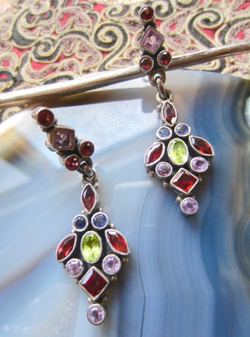Long Dangle Multi-Colored Gemstone Post Earrings from Jaipur
