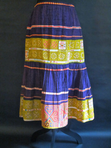 Unique Embroidered Hmong Pleated Skirt