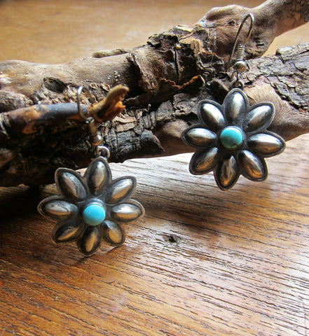 Navajo Stamped Floral Earrings with Turquoise