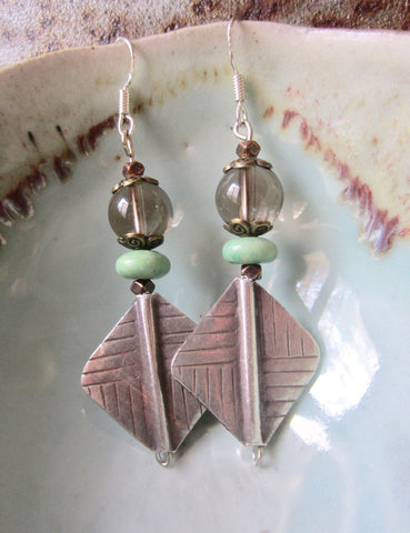 Smoky Quartz, Pale Green Jade and Tribal Silver Dangle Earrings