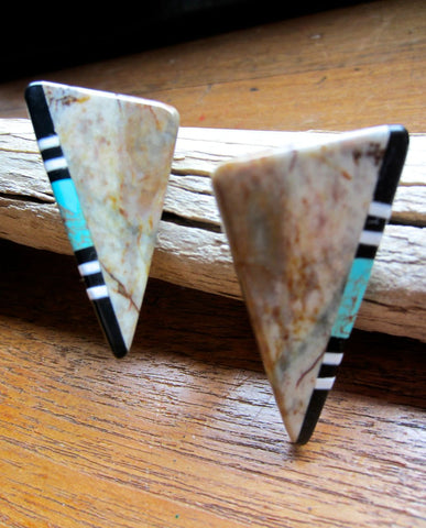 Mosaic Jasper,Turquoise, Jet Earrings from Santa Domingo Pueblo