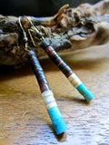 Rich Brown Olive Shell,White Clam Shell and Turquoise Heishe Bead Earrings