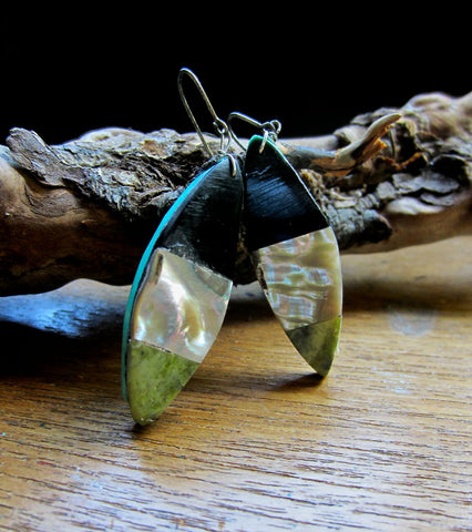 Mosaic Dangle Earrings of Jet, Mother of Pearl, and Serpentine on Turquoise