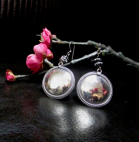 Handsome One of a Kind Sterling Full Moon Disk Earrings