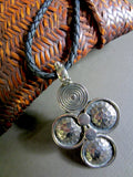 Silver Spiral Necklace on Braided Black Leather Cord