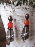 OOAK Silver Starburst Teardrop Earrings with Carnelian and Jasper