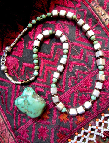 One-Off Handmade Tribal Silver Cube and Turquoise Necklace