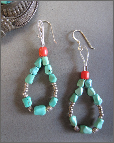 Turquoise, Silver and Coral Long Loop Earrings