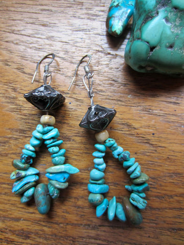 Natural Turquoise Loops Distinctive Dangle Earrings