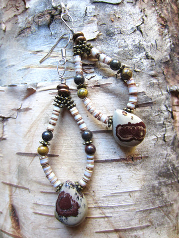 Earthy Jasper and White Clamshell Heishe Loops