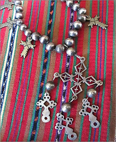 Antique Yalalteca Silver Cross and Coin Necklace