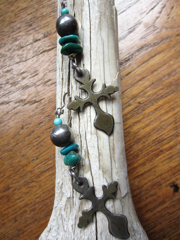One of a Kind Yalalag Cross Earrings with Turquoise