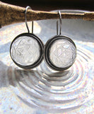One of a Kind Silver Engraved Rock Crystal Yantra Earrings from the Himalayas