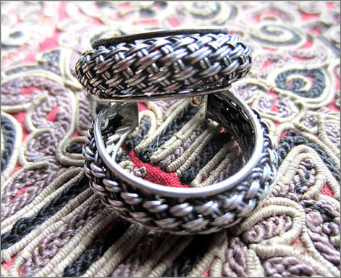 Vintage Silver Basket Weave Hoops from Bali