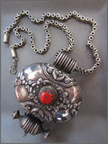 Large Tibetan Silver Charmbox with Coral on Heavy Silver Chain