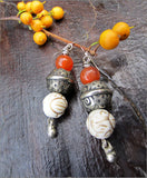 Tribal Silver and Carnelian Dangle Earrings
