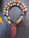 Autumn Jasper Necklace with Pipestone Feather Pendant