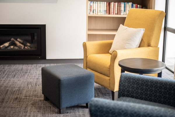 Armchair by fire in aged care