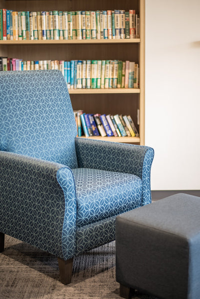 Armchair in library