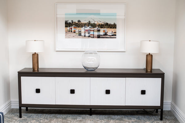 sideboard with white drawers