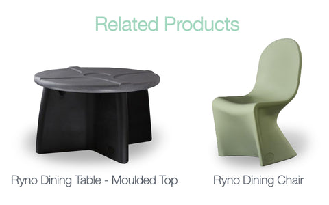 Ryno furniture grey and black table and green chair