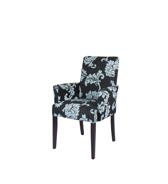 Black and light blue floral upholstered Arm chair with dark solid timber legs