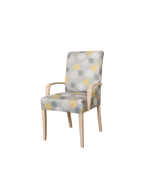 Grey and yellow abstract patterned upholstered arm chair with light solid timber frame