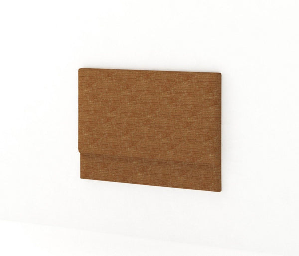 Rust orange upholstered plain rectangle headboard on plain white background