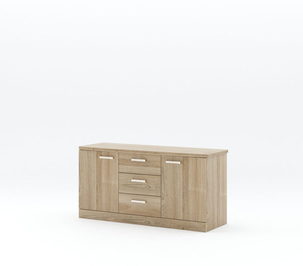 Light wash timber tv unit with three center drawers and a door each side with a rectangle silver handle on a plain white background