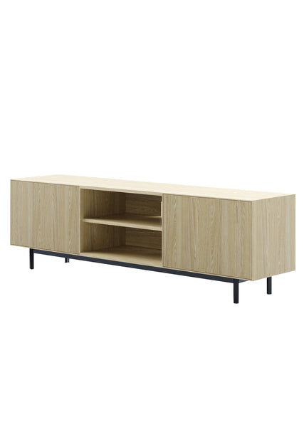 Clear ash solid timber entertainment unit with two doors on each end with an open storage cavity in the centre with one shelf and open cavity in the back for cables and a black low metal powder coated base on plain white background