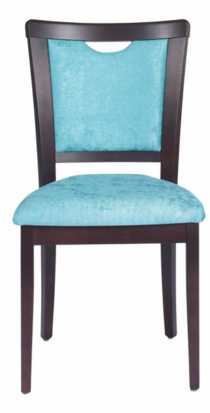 Front view of side chair with black stain solid European beech timber frame and light blue fabric upholstered seat and back with hand grip in top of back