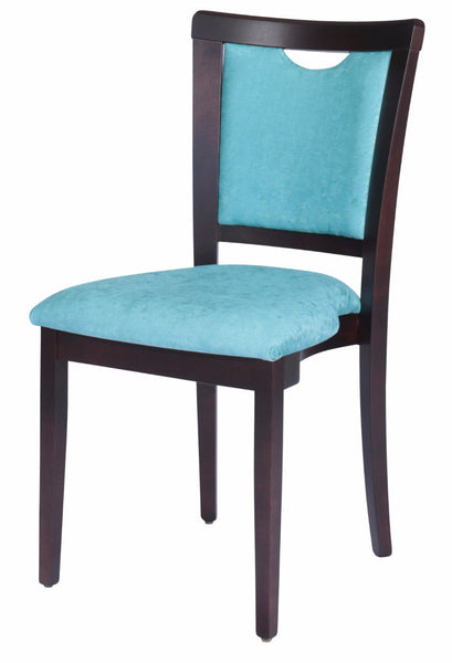 Side chair with black stain solid European beech timber frame and light blue fabric upholstered seat and back with hand grip in top of back